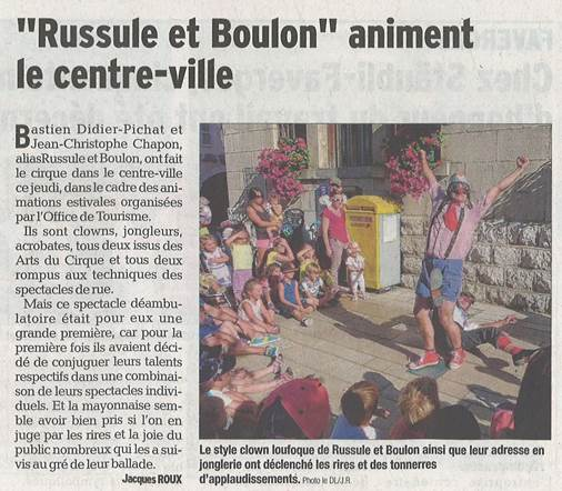 spectacle clown, cie rhone alpes article presse